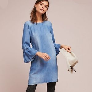 NWT Anthro Cloth Stone Chambray Bell Sleeve Dress